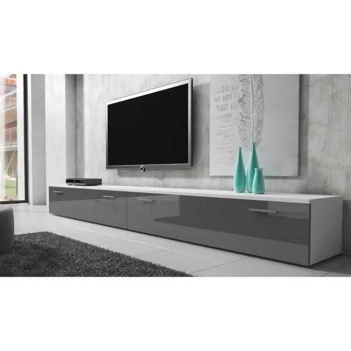boston meuble tv contemporain decor blanc et gris