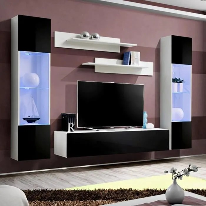 grand meuble tv noir et blanc larissa noir l 260 x