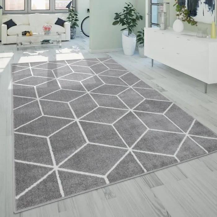 tapis de salon poils ras de style scandinave avec motif losanges gris 200x280 cm