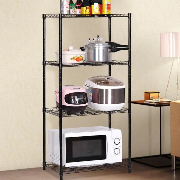 etagere de rangement metal avec 4 tablettes pour chambre cuisine salon 35x56x120 cm