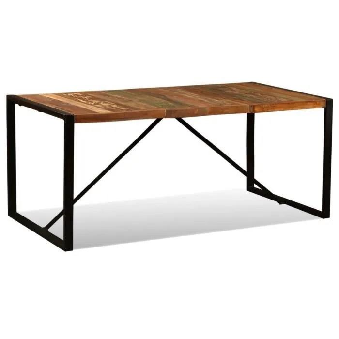 mewmewcat table salle a manger vintage bois de recuperation massif style industriel 180 x 90 x 76 cm l x l x h
