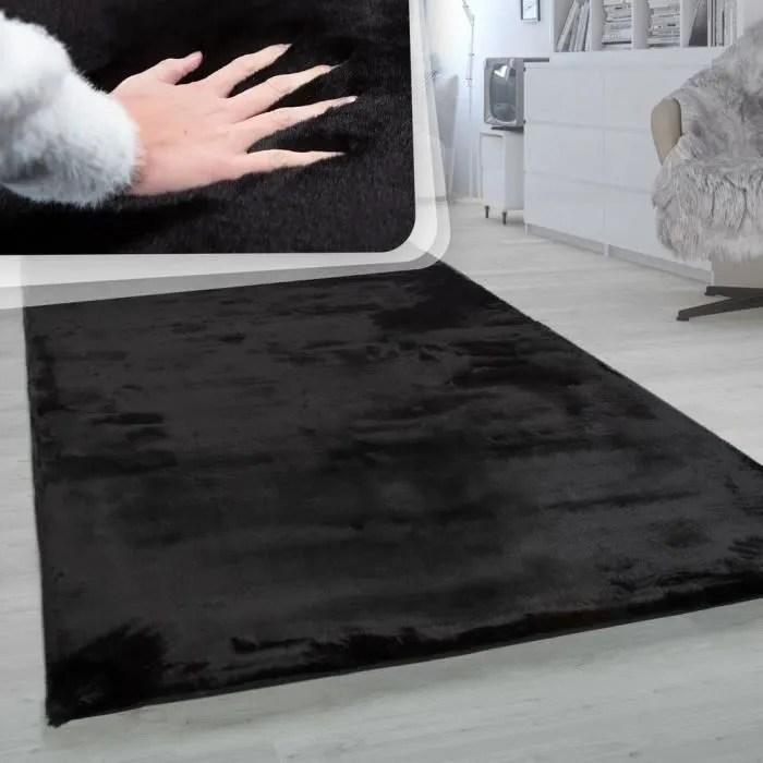 tapis a poils longs tapis shaggy pour salon doux uni noir 60x90 cm