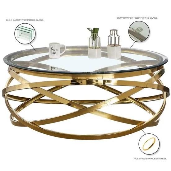 table basse design rond avec pietement en acier inoxydable poli dore et plateau en verre trempe transparent l 100 x h 43 cm