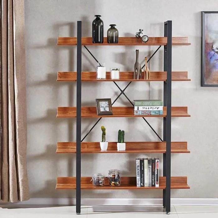 etageres style industriel en bois fonce 170cm ekero designetsamaison