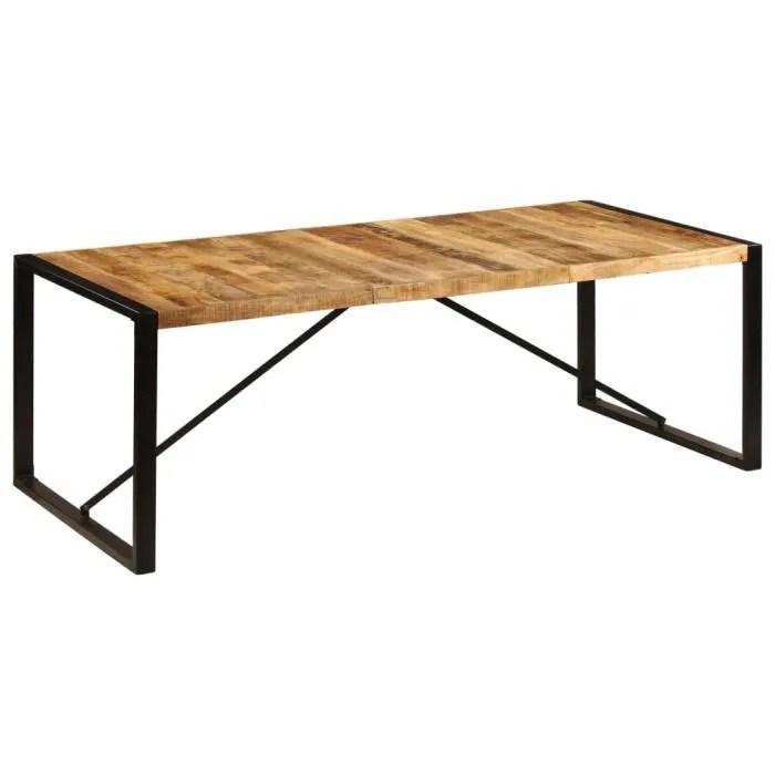 table de salle a manger 8 a 10 personnes style industriel 220x100x75 cm bois de manguier solide