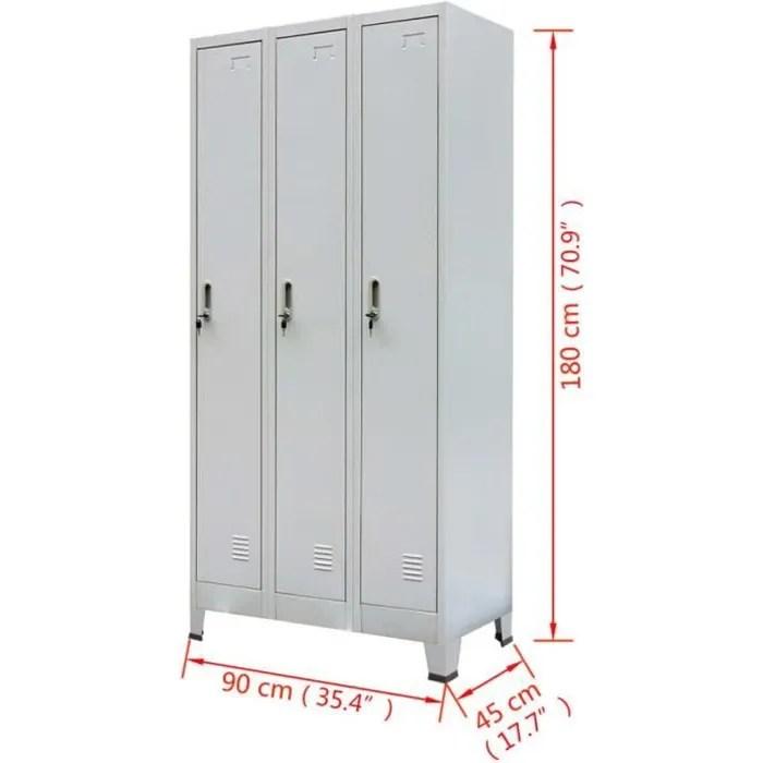 vestiaire casier metallique avec 3 compartiments style industriel gris 90x45x180 cm
