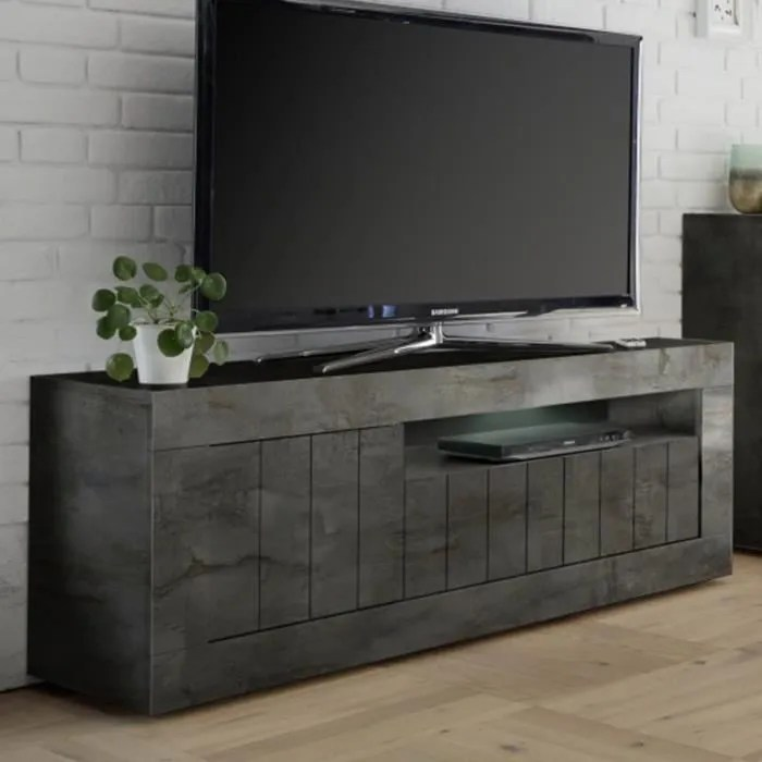 banc tv gris anthracite moderne mabel l 138 x p 42