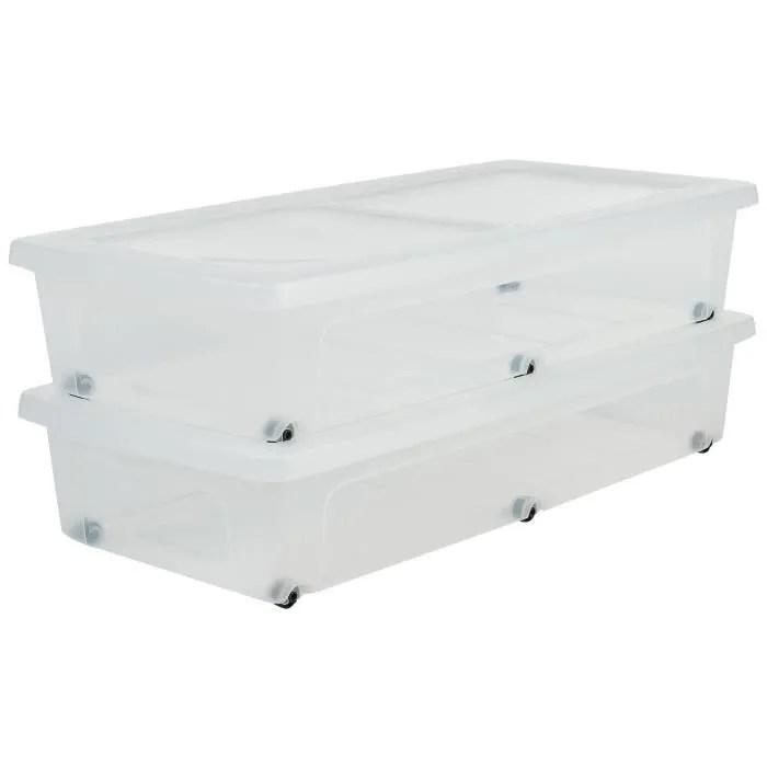 iris ohyama lot de 2 boites de rangement sous lit modular clear box mcb ub plastique 35 l 80 x 40 x 16 cm transparent
