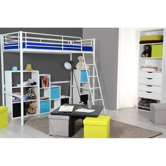 lit mezzanine blanc 2 places 90x90 cm