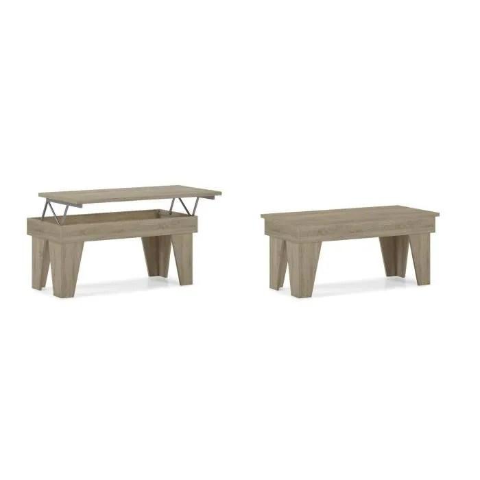 table basse relevable salle a manger modele kl chene clair mesure 92x50x45 57 cm de haut