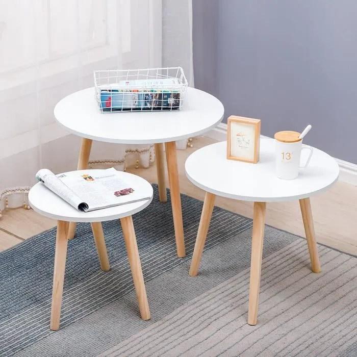lot de 3 tables basse ronde scandinave table de salle a manger pieds en pin blanche