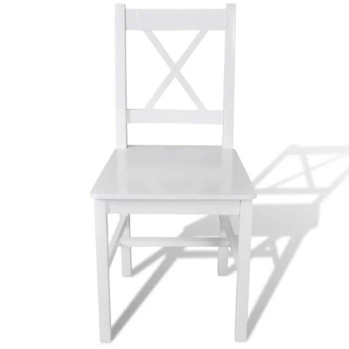 magnifique 6 pcs chaise salle a manger en bois blanc