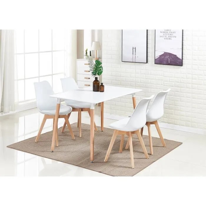 ensemble salle a manger moderne lorenzo table blanche 4 chaises blanches design scandinave
