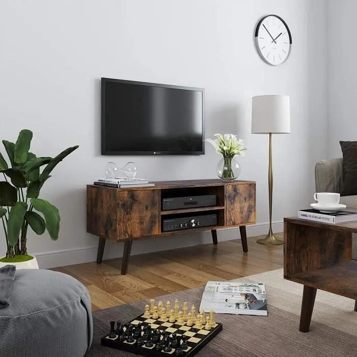 vasagle meuble tv rustique table basse buffet ba