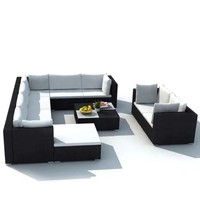 regisi salon de jardin resine tressee poly rotin 32 pieces canape de jardin noir