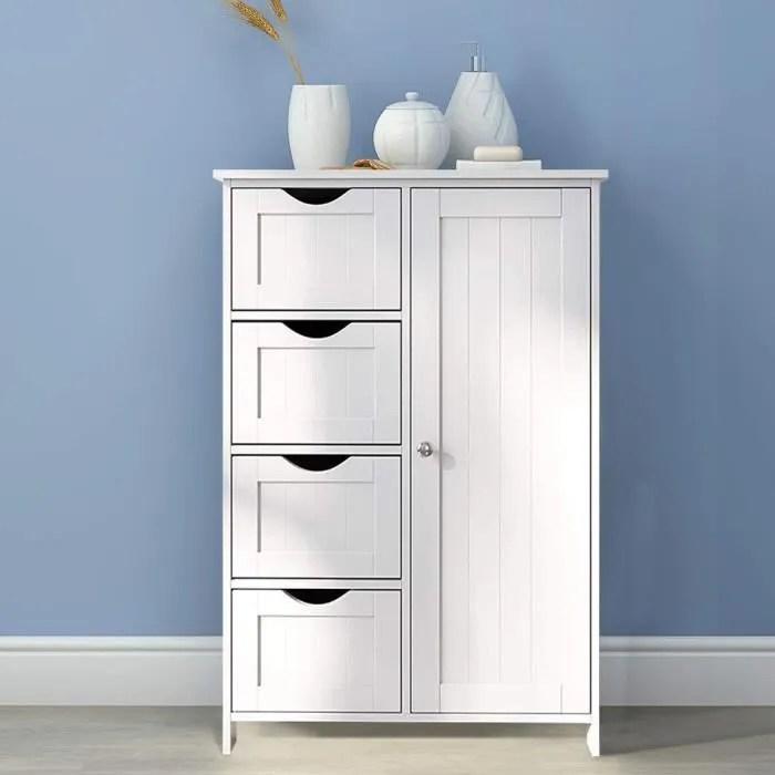 commode de chambre etagere de rangement en cuisine et salle de bain blanc mixmest