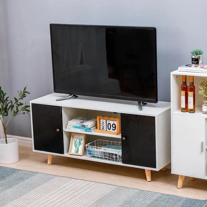 meuble tv pour salon 116x39x54cm noir et blanc avec 2 portes et 2 cubes rangements bonachat