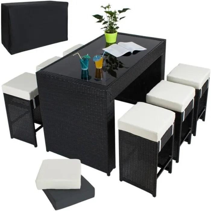 table haute salon de jardin rotin resine tresse synthetique 6 tabourets rotin noir 210814