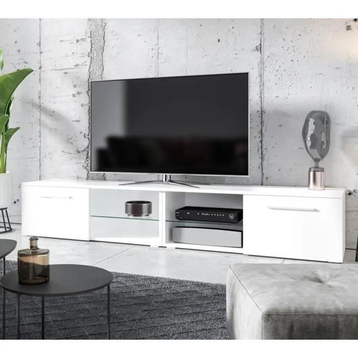 meuble tv meuble salon tenus double 2x100 cm blanc mat blanc brillant sans led style classique