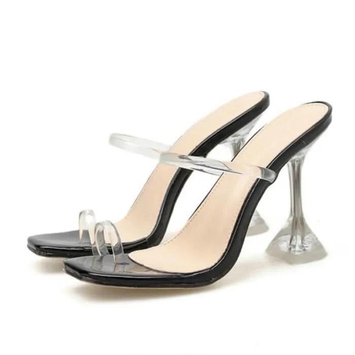 sandales grande taille chaussures pour femmes simple transparent avec bout ferme 10cm chaussons a talons fins noir