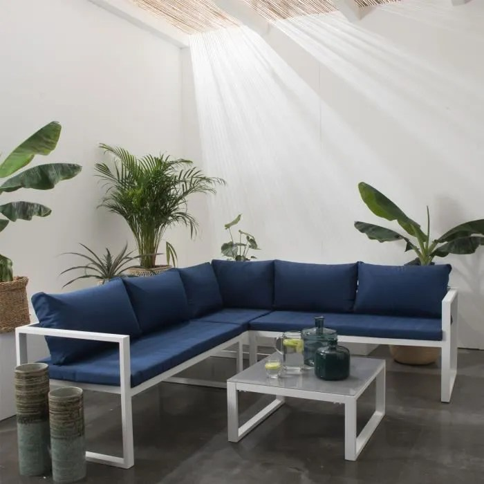 salon de jardin modulable ibiza en tissu bleu 4 places aluminium blanc