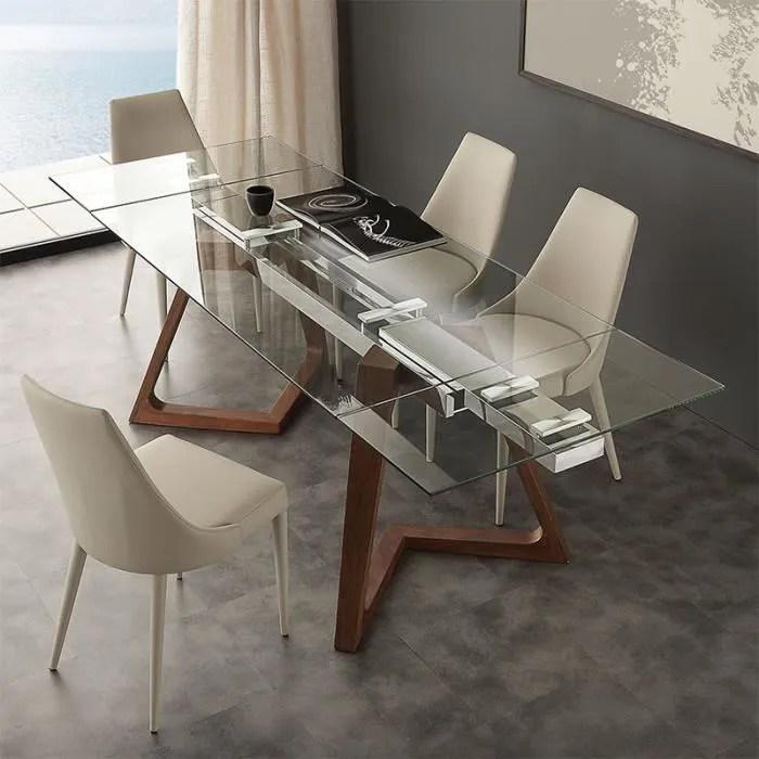 table extensible en verre et bois design tosca 16