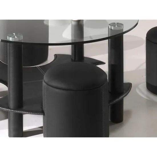 table basse ronde en verre avec 4 poufs