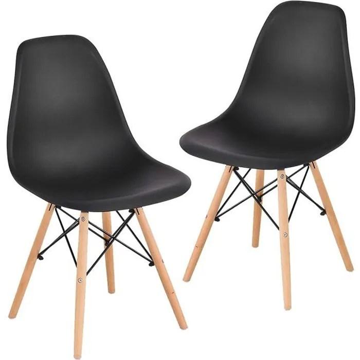 lot de 2 chaises noires pour salle a manger scandinave pieds en bois et metal ag