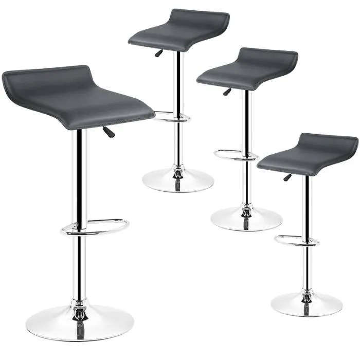 lot de 4 tabouret de bar chaise de bar noir