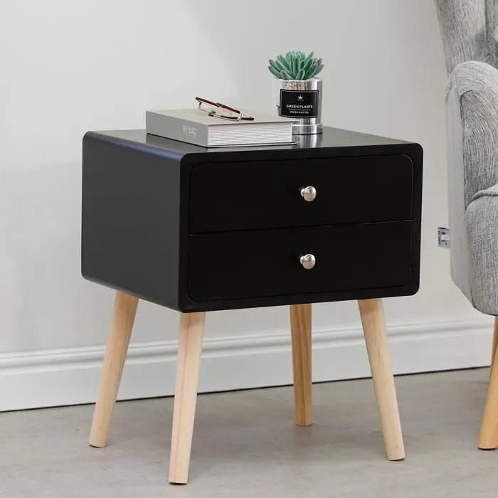 table de chevet scandinave avec 2 tiroir en bois table de nuit noir