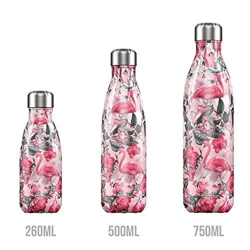 chilly bouteille isotherme 500ml tropical flamingo