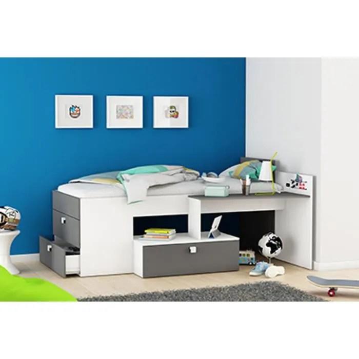 lit enfant avec bureau integre en bois
