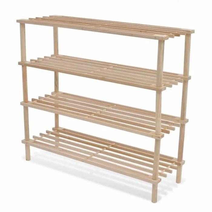 etageres et casiers a chaussures etagere a chaussures 4 niveaux en bois 2 pcs