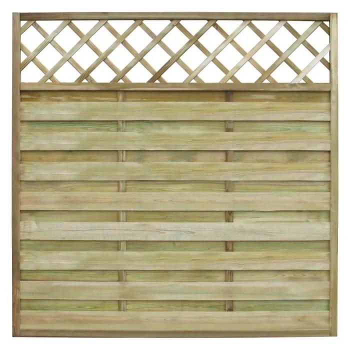 panneau de cloture carre en bois avec treillis 180 x 180 cm