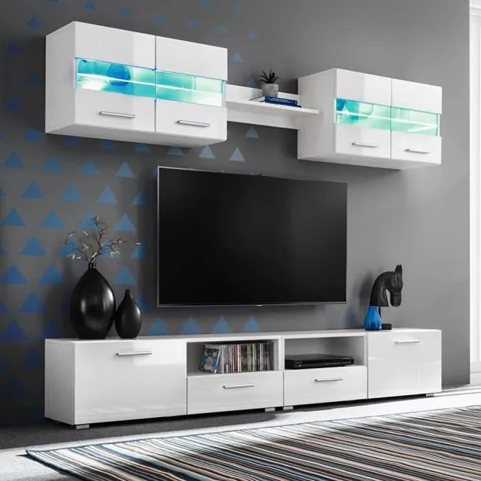 ensemble meuble mural tv 5 pcs lumieres led haute