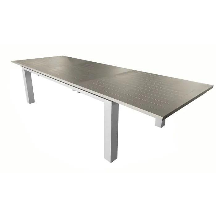 proloisirs table de jardin en aluminium avec allonge elisa 180 240 cm gris clair et taupe