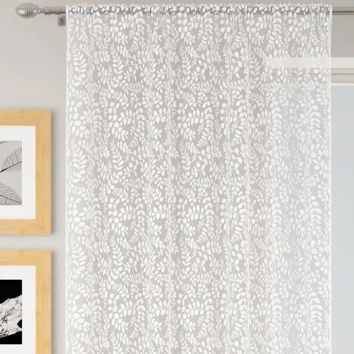 rideaux voilage transparent blanc avec motifs argent