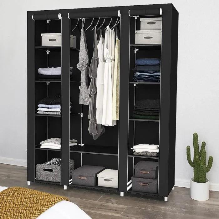 armoire de rangement dressing grande capacite amovible penderie dressing vetement noir