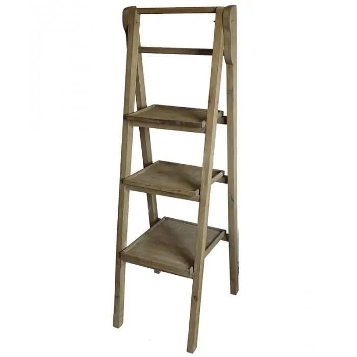 etagere echelle meuble escalier escabeau bibliotheque presentoir en bois a 3 etages pliable 45x45x137cm