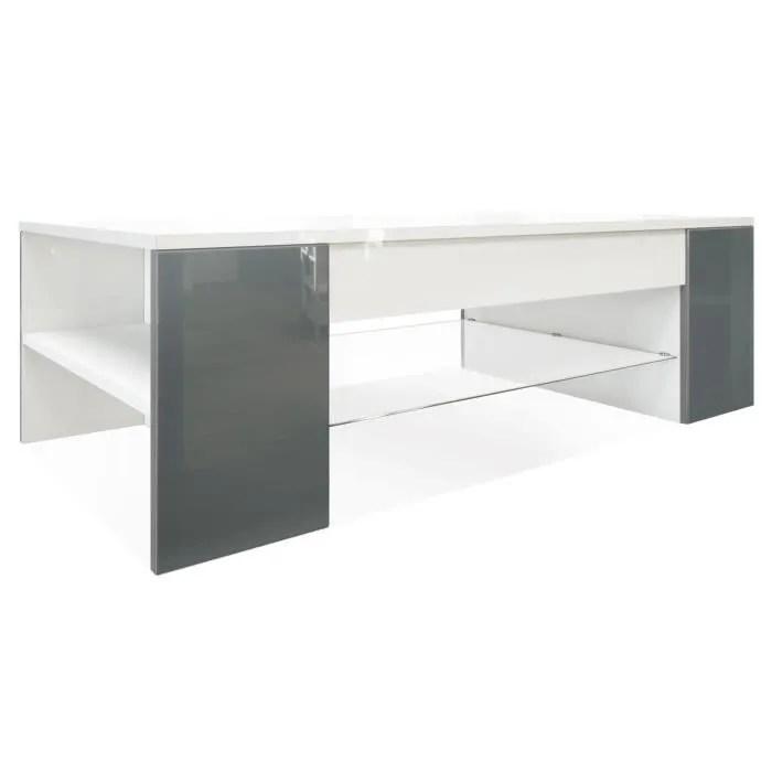 table de salon table basse clip en blanc avec des bordures en gris haute brillance