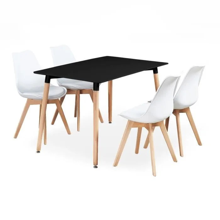 ensemble salle a manger lorenzo table noire chaises blanches design scandinave