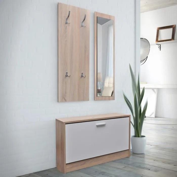 vestiaire d entree 3 elements en bois blanc et aspect chene
