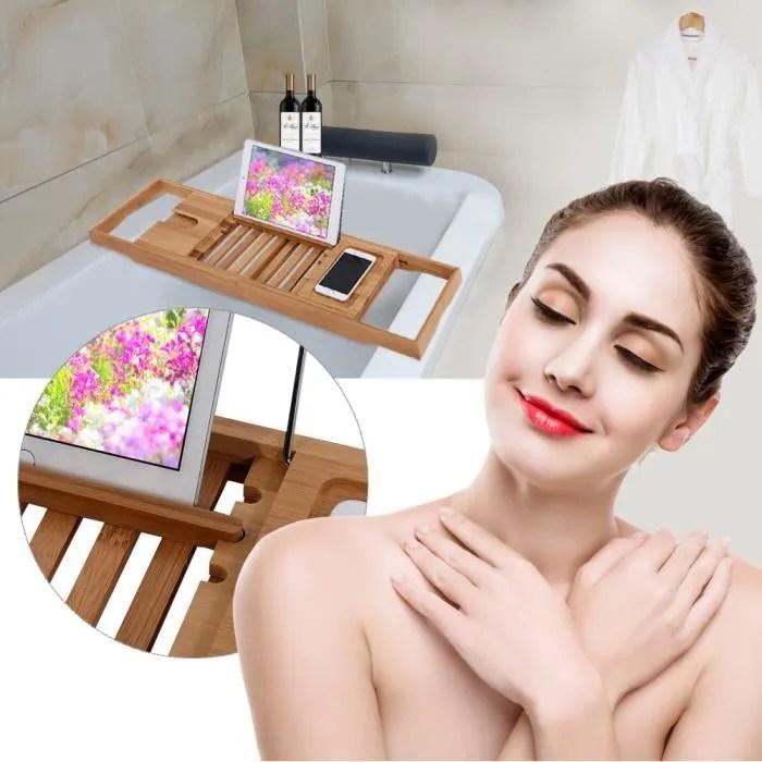 tablette de baignoire avec support livre plateau de bain en bois de bambou porte livre porte verre porte bougie