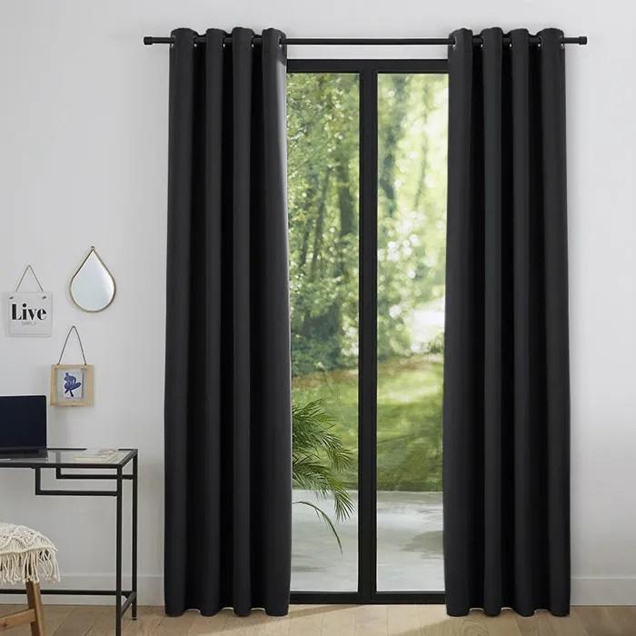 rideau noir coton