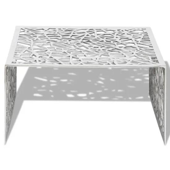 table basse argentee design geometrique aluminium