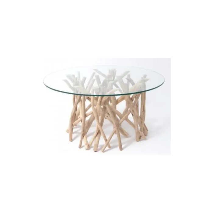 table basse ronde bois flotte et plateau verre toundra
