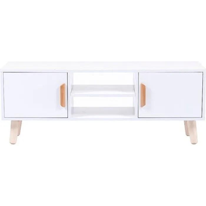 meuble tv scandinave decor blanc pieds en bois