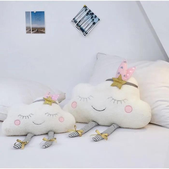 coussins smiley face cloud 2 en 1 oreiller bebe coussin fille decor chambre lit en cotton souple et dou blanc 57 38cm