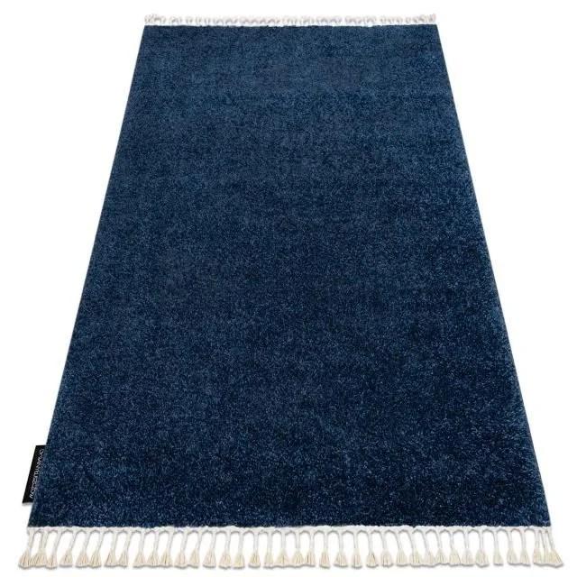 tapis berber 9000 bleu fonce franges berbere maroc