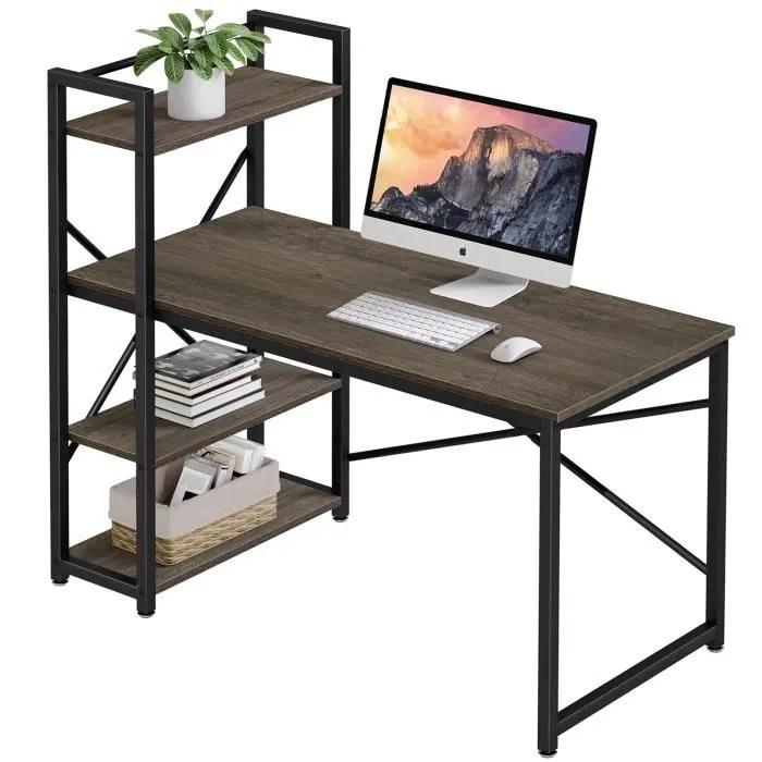 bureau d ordinateur vintage avec 3 etageres gris rustique